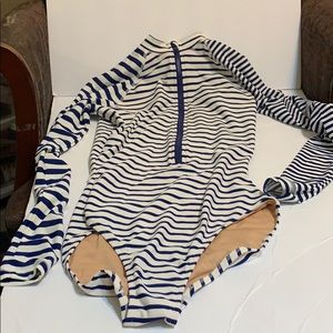J crew long sleeve stripped swimsuit